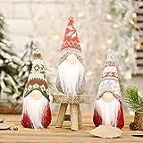 Juego de 3 Decoraciones Gnomo Navideño árbol Colgante Papá Noel Muñeco Escandinavo Sin Rostro Sombrero Copo Nieve Rústico Tomte Sueco Vacaciones Interior Exterior Hogar Mesa Granja Elfo Enano Rudolph