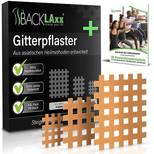 BACKLAxx® Gittertape Typ a b c, 119 Stück in Premium-Qualität: Gitterpflaster Set 3 Größen, Akupunkturpflaster mit 102-seitigem E-Book als Download