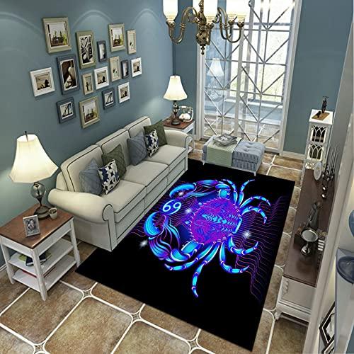 PHhomedecor Alfombra Suave, Moderno Estilo Decoración Alfombras, Niños Gateando Manta, Arte De Impresión 3D Cangrejo Azul, 140(H) X200(W) Cm Moqueta para Dormitorio Y Salón O Habitación Infantil