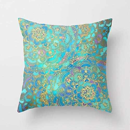 Super Hot Hipster Fundas de cojín de Menta Verde Azul Claro Estampado de geometría Moderna Funda de Almohada Decorativa Boho Sofá Cojines   Cojín