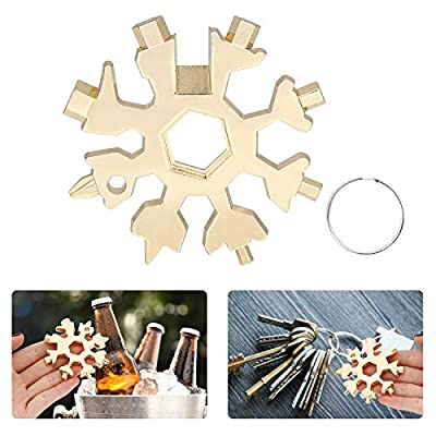 Gigilli 18 In 1 Snowflake Multitool, Stainless Steel Snowflake Bottle Opener, Flat Phillips Screwdriver Kit, Wrench, Christmas Gift for Men (Gold)