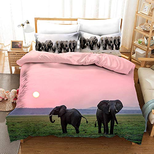 aakkjjzz Duvet Cover King Size Ultra Soft Bed Set with Zipper Closure 100% Polyester Quilt Cover and 2 Pieces Pillowcases Machine Washable Elephant and Pink Sky for Bedroom Daybed 230X220cm