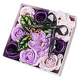 Jabón de rosas con flores y jabón, con caja de regalo, para manualidades, día de la madre, regalo para el día de la madre, flores de jabón, color azul