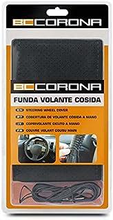 BC Corona INT30181 Funda de Volante Negra Cosida para Coche