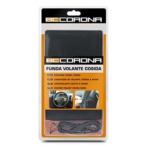 BC Corona INT30181 Funda de Volante Negra Cosida para Coche Color Acabado simil Piel Universal