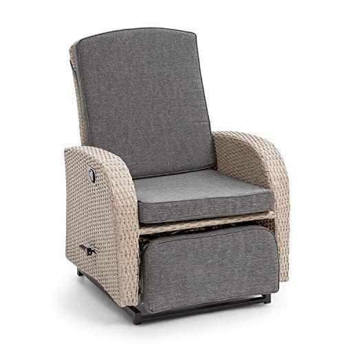 blumfeldt Comfort Siesta Luxury Sessel - verstellbare Rückenlehne, Fußteil, Material Bezug: Polyester, 8 cm Polsterung, integrierte Schwingfunktion, Gasdruckfeder, Stahlrahmen, hellgrau