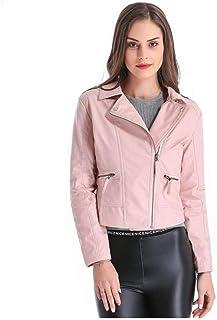 BEESCLOVER Chaqueta de Cuero para Mujer Talla Grande 4XL Corta PU Chaqueta de Cuero Mujer Mujer Moto Collar de Cobertura 2018 Nueva Primavera, CB018 Pink M