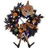 Valery Madelyn 24 Inch Pre-Lit Happy Halloween Wreath for Front Door with Witch Hat, Halloween Lights and Pumpkin Decorations(Black and Orange)