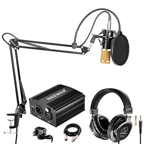 Neewer NW-800 Pro Micrófono de Condensador(Negro/Oro) y Auriculares de Monitor con 48V...
