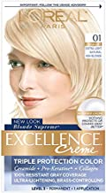 L'Oreal Paris Excellence Creme Permanent Hair Color, 01 Extra Light Ash Blonde, 100 percent Gray Coverage Hair Dye, Pack of 1