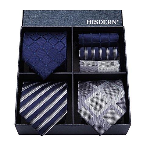ビジネス 紺 ネクタイ 3本セット[ HISDERN(ヒスデン) ] おしゃれ 結婚式 青 ネクタイ チーフ メンズ フォーマル ネクタイ ブランド プレゼント洗える T3D002