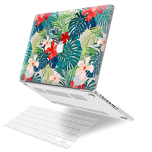 JGOO Plastic Hard Shell Case Cover Protective Laptop Cover with Keyboard Cover Compatible for MacBook Pro 13 inch Model A1278 with CD-ROM (Non Retina), Palm leaves & Red Flowers