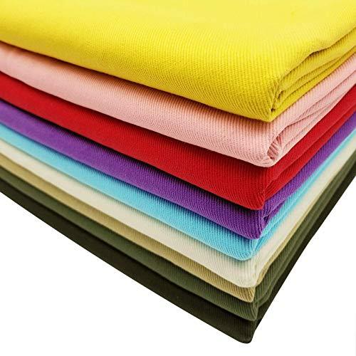MAGFYLYDL tela de mezclilla por la yarda tela de mezclilla de sarga 100% algodón puro de mezclilla de color para el diseño de la ropa, costura multicolor (color: verde1)