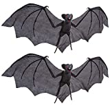 """Halloween Haunters Set of 2 Hanging 30"""" Wing Span Flying Vampire Bats Prop Decoration - Realistic Grey Bats with Evil Red Eyes and Scary Fangs - Spooky Haunted House, Graveyard, Entryway Party Display"""