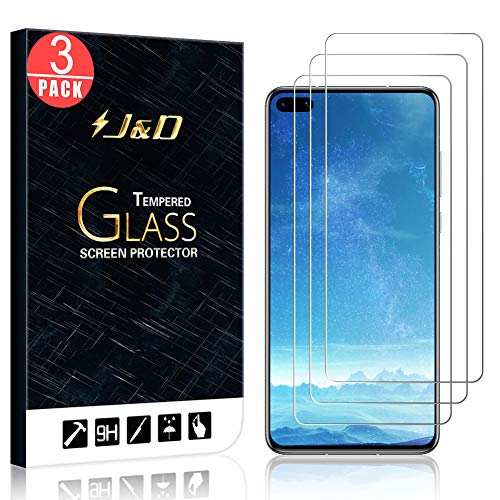 J&D Compatible for Huawei P40 Glass Screen Protector, 3-Pack [Tempered Glass] [Not Full Coverage] HD Clear Ballistic Glass Screen Protector for Huawei P40 Glass Film