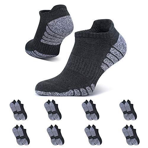 YouShow Sneaker Socken Herren Damen Gepolsterte Sportsocken 43-46 Dunkelgrau Baumwolle Laufsocken Atmungsaktiv 8 Paar