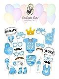 fastique kids Baby Shower It`s a Boy Foto Requisiten Fotoaccessoires für Neugeborene Jungs - 25 Party Motive mit Holzstäbchen - Photo Booth Probs (Blau)