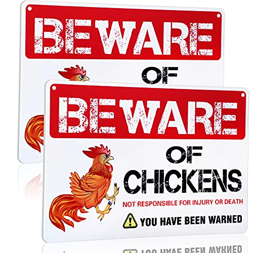 Jetec 2 Pieces Beware of Chicken Sign Chickens Warning Sign Funny Chicken Coop Decor for Chicken Fan Lovers PVC Sign Indoor Outdoor Chicken Rooster Plaque Sign, 12 x 8 Inch