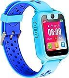 Orologio Telefono LBS Bambini - Smartwatch con LBS Tracker Posiziona Fotocamera Gioco di Matematica Torcia Elettrica per Regalo Cresima Ragazzo Ragazza (LBS, Blu)