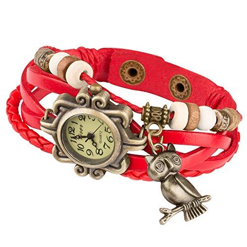 Taffstyle Damen-Armbanduhr Analog Quarz mit Leder-Armband Geflochten Charms Anhänger Uhr Retro Vintage Eule Gold Rot