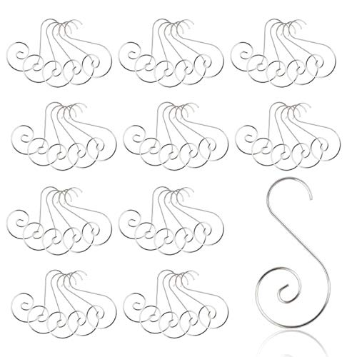 KATOOM 100pcs Christmas Ornament Hooks,S-shaped Hangers Hook for Xmas Party Decorations Home Wedding DIY Crafts Hanging Jewelry Gift (Silver)