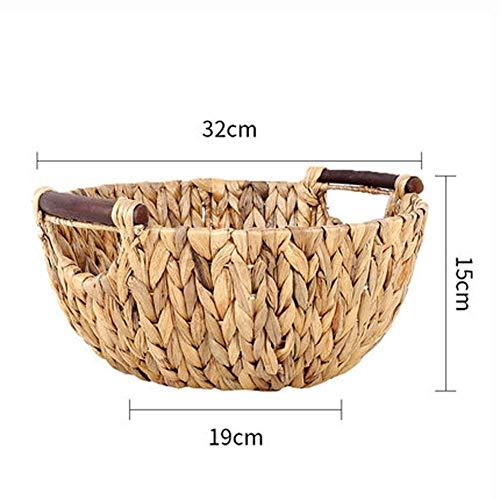 Handgemaakte Straw Storage Box Basket Simple Mode rotanmand voedsel vruchten Organizer Container Handwork rieten mand Mooie en praktische fruitschaal.