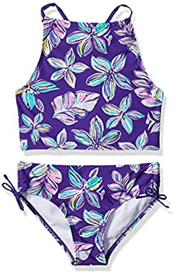 Kanu Surf Girls' Big Daisy Beach Sport Halter Tankini 2-Piece Swimsuit, Charlotte Floral Purple, 14