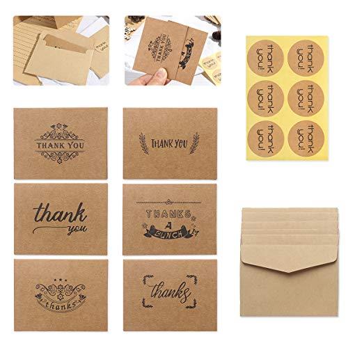 Dankeskarten, Ledeak Kraftpapier Dankes Karte Danksagungskarten mit Umschläge und Kleber Aufkleber für Thanksgiving Day, Hochzeit, Brautparty, Jahrestag, Geschäft