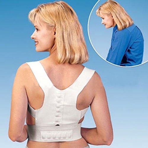j.j Store Raddrizzaspalle tutore per schiena e spalle sollievo dal dolore cintura cinghia magnetica White L
