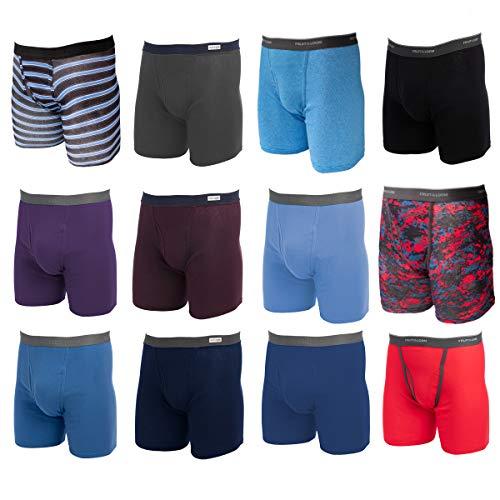 Fruit of the Loom, 12 Pack Random, Mens Underwear, Size Medium, Cotton Underwear, Boxer Briefs with...