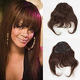 Zanawigs brésiliens Pince à cheveux en Frange droite extension de cheveux pour femme Frange Complet court
