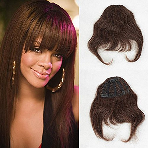 Preisvergleich Produktbild ZanaWigs Human Hair Bang Clip in on Bangs Fringe Short One Piece Silky Straight Hair Extention for Women
