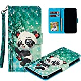 COTDINFOR pour Galaxy Note 9 Custodia Cover TPU 3D Effect Painted PU in Pelle con Wallet Card Holder Magnetico Ultrasottile Antiurto Flip Custodia per Samsung Galaxy Note 9 Cheerful Panda XLL.