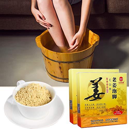 KISSION Poudre de Bain de Pieds Traditionnelle Chinoise pour les Pieds Moites, odeur de pied d'athlète/pied, Favoriser la Circulation Sanguine Soulager la Fatigue (Gingembre)
