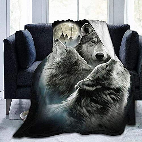 Manta de forro polar, ligera, supersuave, cálida, cómoda, con estampado de lobo y luna