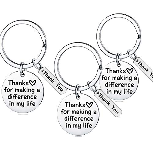 Teacher Appreciation Gift for Women, 3PCs Teacher Keychain Set, Jewelry Gift for Teachers, Birthday Gift for Teacher Gifts from Students (Thanks for Making a Difference in My Life)