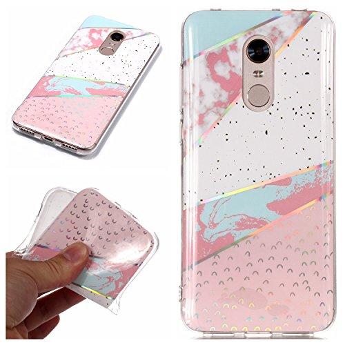 HopMore Funda Xiaomi Redmi 5 Plus Silicona Motivo Mármol Marmol Bonita TPU Gel Carcasa Ultrafina Resistente Slim Case Antigolpes Caso Goma Protección Cover - Rose Bleu