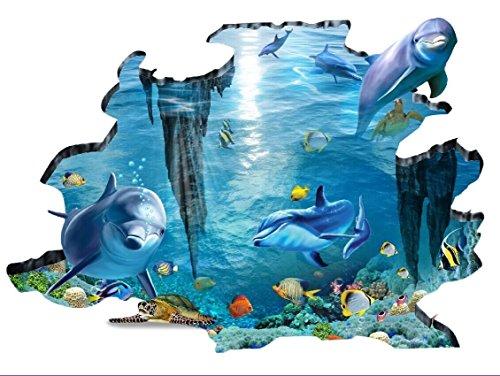 Rainbow Fox Sea 3D Wall Decal requins et poissons nager dans l'océan bleu amovible 3D Sticker mural pour salle enfants