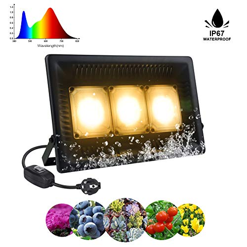 Lámpara Planta 150W COB Espectro Completo Crece Lluminación de Planta IP67 Impermeable Lámpara LED para Plantas de Interior y Exterior Relassy Hortícola Luz de Inundación Ultrafino (Luz Blanco Cálido)
