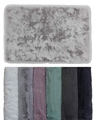 Schöner Wohnen Kollektion Badezimmerteppich 40 x 60 cm – sehr Flauschige Badematte Silber – waschbar und rutschhemmend