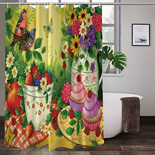 Duschvorhang mit Cupcakes für zwei Duschvorhänge, wasserdicht, buntes Muster, 152 x 183 cm