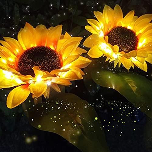 Greenke Sunflower Solar Lights Outdoor Garden Decorative, Waterproof LED Solar Flower Lights Decorative Landscape for Yard Path Garden Patio Decoration-2 Pack (Yellow)