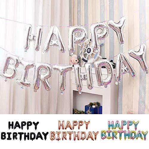 Ponmoo Globos de Happy Birthday Banner - Plata, Cumpleaños Globos para La Decoración Aniversario Fiesta, Globo de Feliz Cumpleaños Suministros Decoración Globo Party