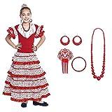 Vestido Sevillanas Niña con Accesorios Flamenca Peineta Collar Pulsera Rojo Blanco【Tallas Infantiles de 1 a 15 años】[10-12 años] Disfraz Sevillana Traje Flamenca Volantes Feria Abril Sevilla Baile