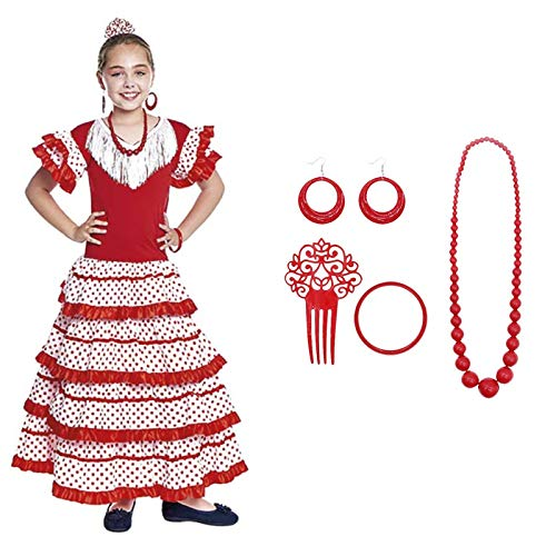 Vestido Sevillanas Niña con Accesorios Flamenca Peineta Collar Pulsera Rojo Blanco【Tallas Infantiles...