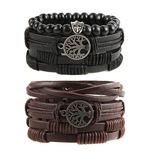 HZMAN Genuine Leather Tree of life Bracelets Men Women, Tiger Eye Natural Stone Lava Rock Beads Ethnic Tribal Elastic Bracelets Wristbands (6 Pcs)