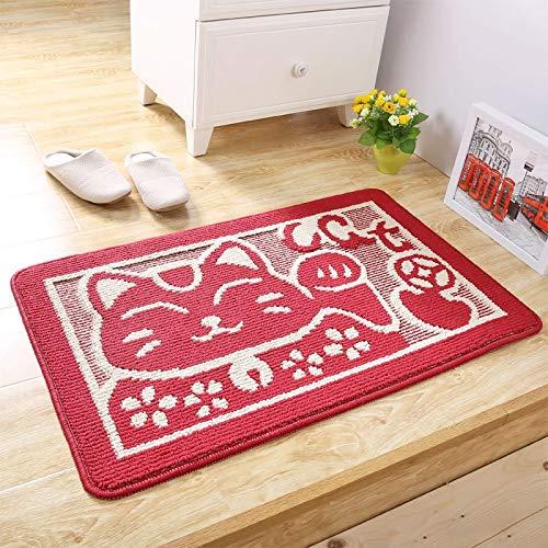 Zyj stores Felpudo Lucky Cat Entrada de la Puerta de la Puerta de la Puerta del Piso del rectángulo Forma de Las alfombras Bienvenido Dormitorio Alfombra Antideslizante para el Pasillo Baño Caucho