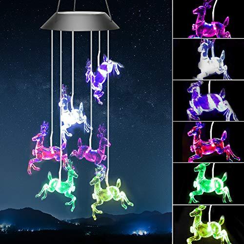 Welltop - Campana de viento solar con luces LED que cambian de color, para patio, jardín, hogar o fiesta (ciervos)