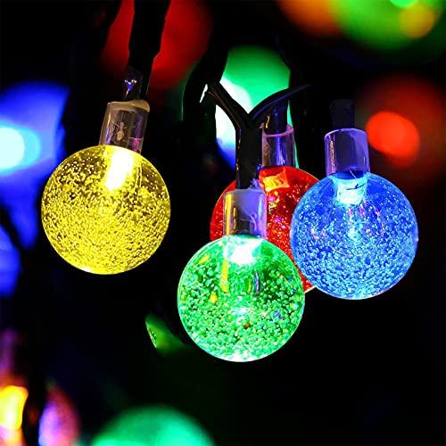 Guirnalda Luces Exterior Solar, 11M/36FT 60 LED Cadena de Luces Bola Cristal, 8 Modos IP65 Impermeable, Solares Exteriores Decoración para Navidad, Fiestas, Bodas, Patio, Jardín, Festivales