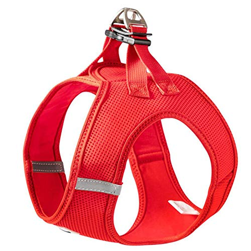 LINGJIE Dog Car Harness Seatbelt Set, Pet Vest Harness with Belt for Use Adjustable Elastic Strap and Multifunction Breathable Fabric Vest in Vehicle for Dogs,Red